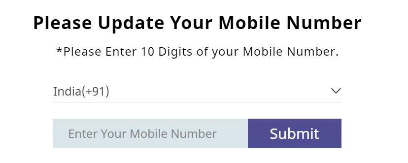 Update your Mobile Number